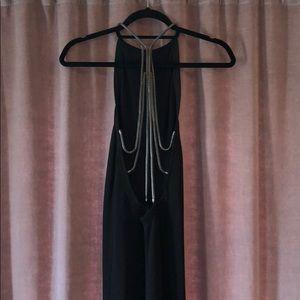 Zara Knit Open Back Black Midi Dress